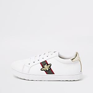 Weiße Sneaker mit Streifen und Bienen-Applikation für Mädchen