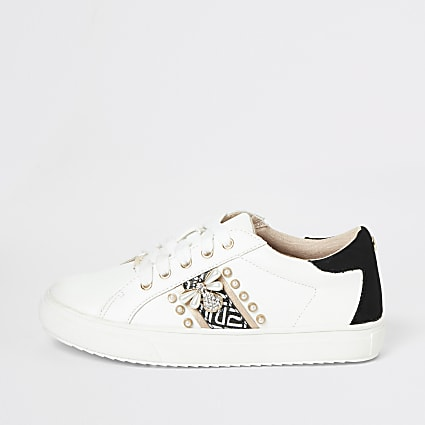 Girls white stripe embellished trainers