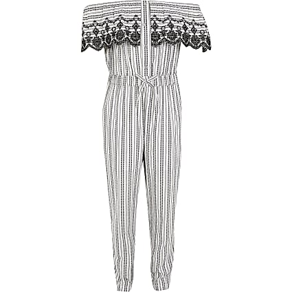 Girls white stripe frill bardot jumpsuit