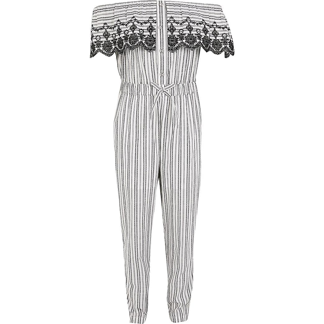 Girls white stripe frill bardot jumpsuit