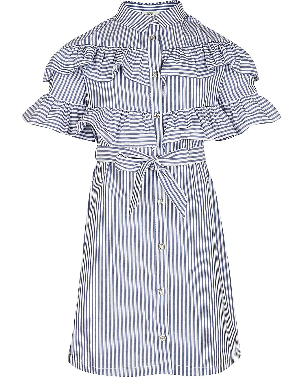 Girls white stripe frill shirt dress