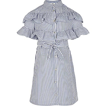 Girls white stripe frill shirt dress