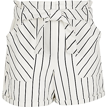 Girls white stripe paperbag shorts