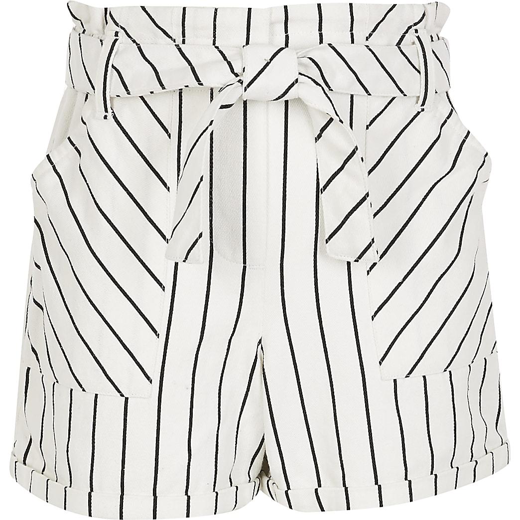 Girls white stripe paperbag shorts