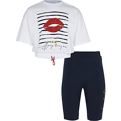 Girls white stripe t-shirt and cycling shorts