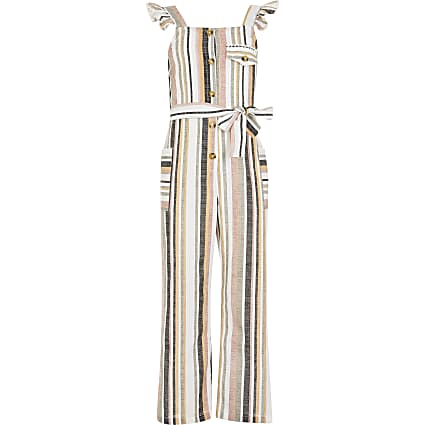 Girls white stripe tie belted jumpsuit