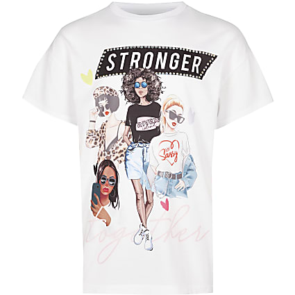 Girls white 'stronger together' t-shirt