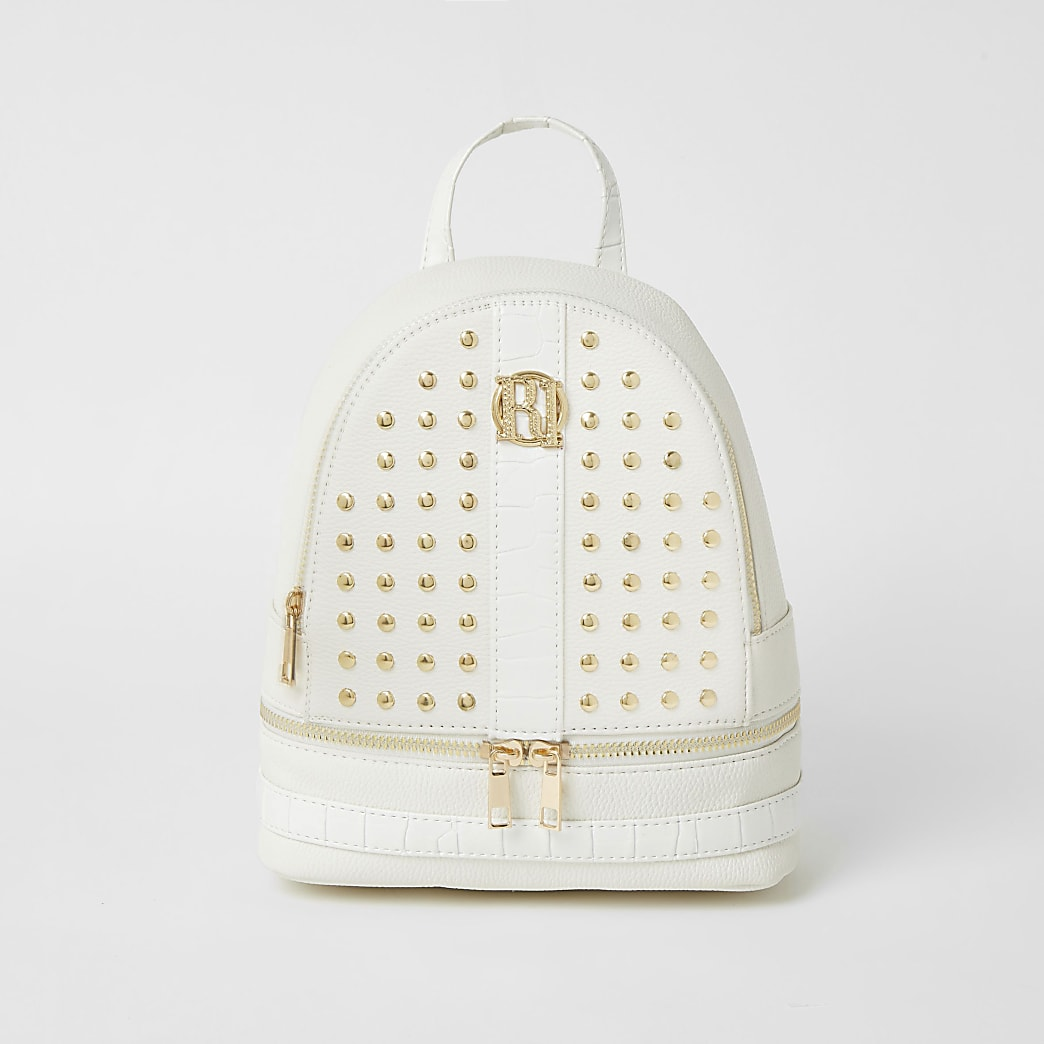 Girls white studded backpack