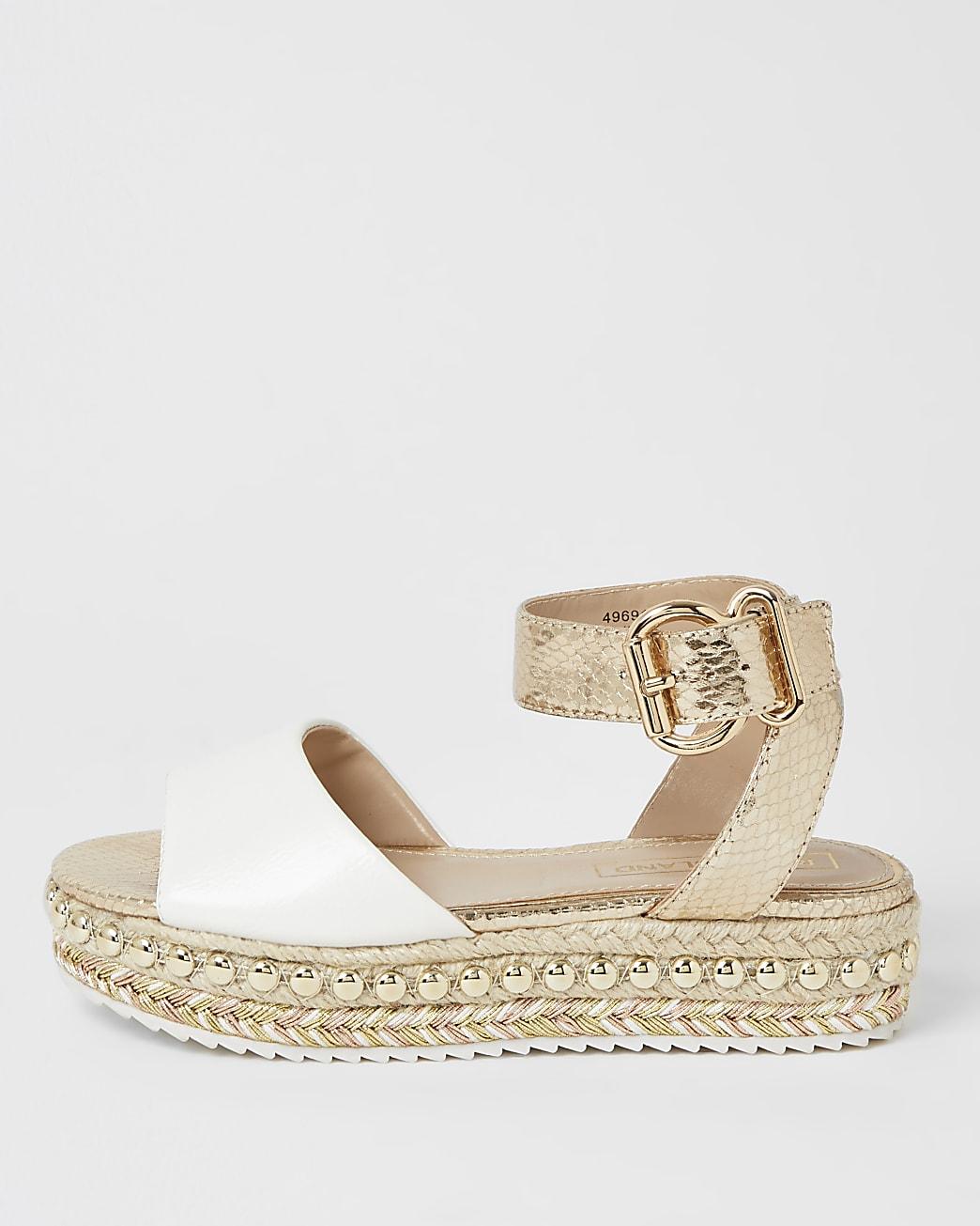 Girls white studded flatform sandals