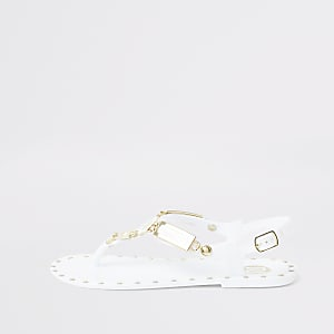 Sandales en plastique blanches cloutées pour fille