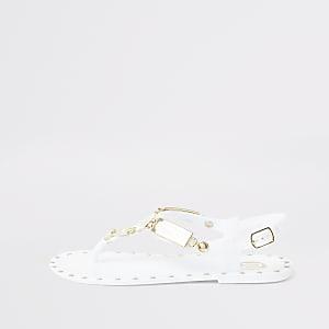 Witte jelly sandalen met studs voor meisjes