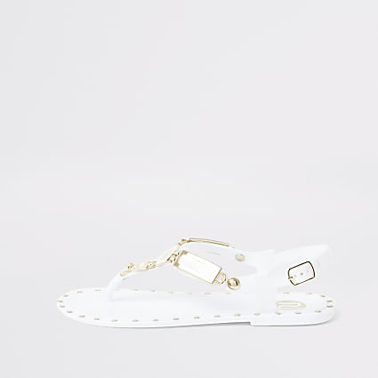 Girls white studded jelly sandals