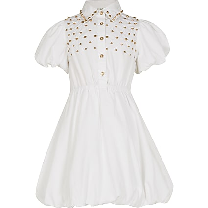 Girls white studded shirt dress