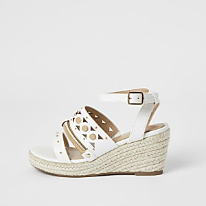 Girls white studded strappy wedge sandals