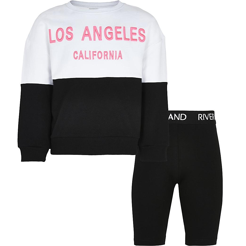 Girls white sweatshirt and cycling shorts set