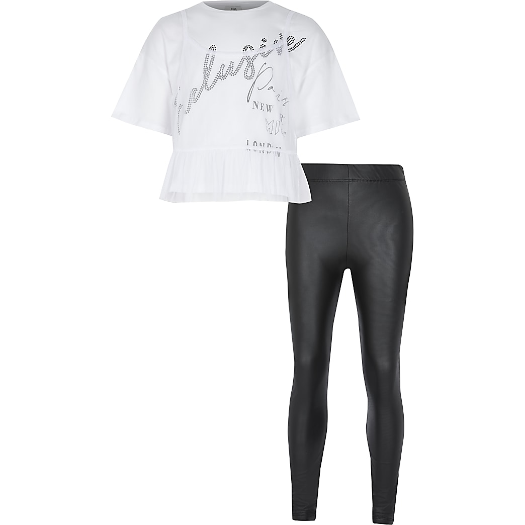 Girls white t-shirt and leggings outfit