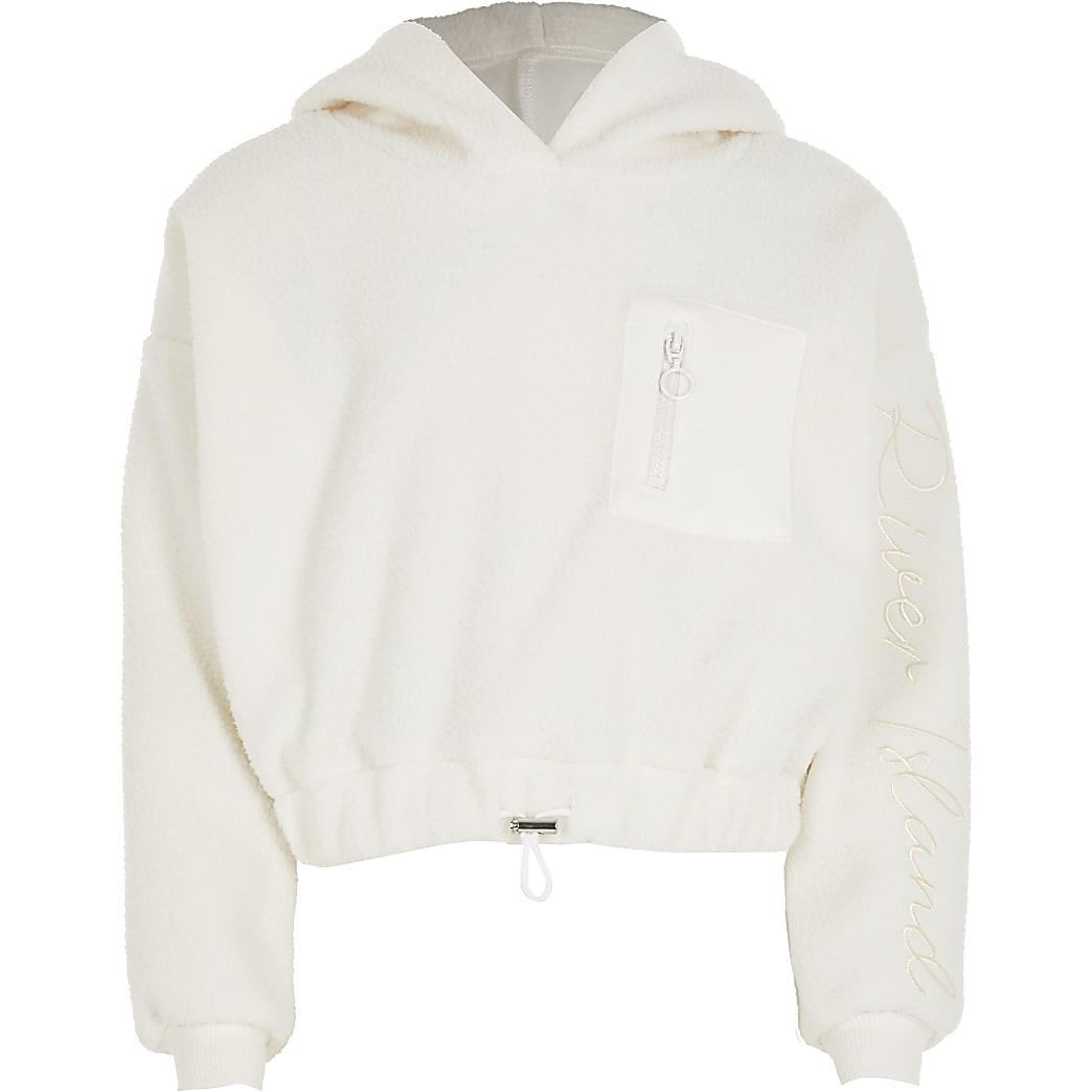 Girls white teddy borg cinch hoodie