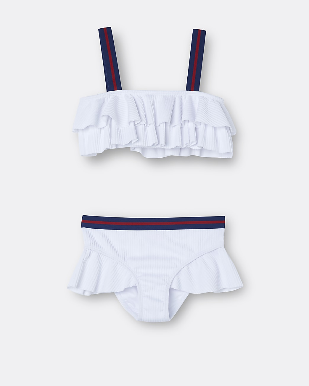 Girls white textured frill bikini set