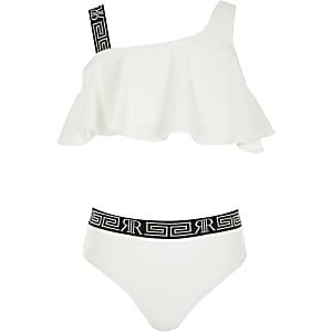 Girls white textured one shoulder bikini set
