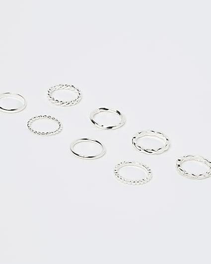 Girls white textured rings 8 pack
