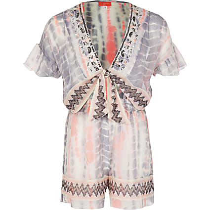 Girls white tie dye cutout sheer playsuit