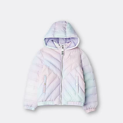 Girls white tie dye padded hooded jacket