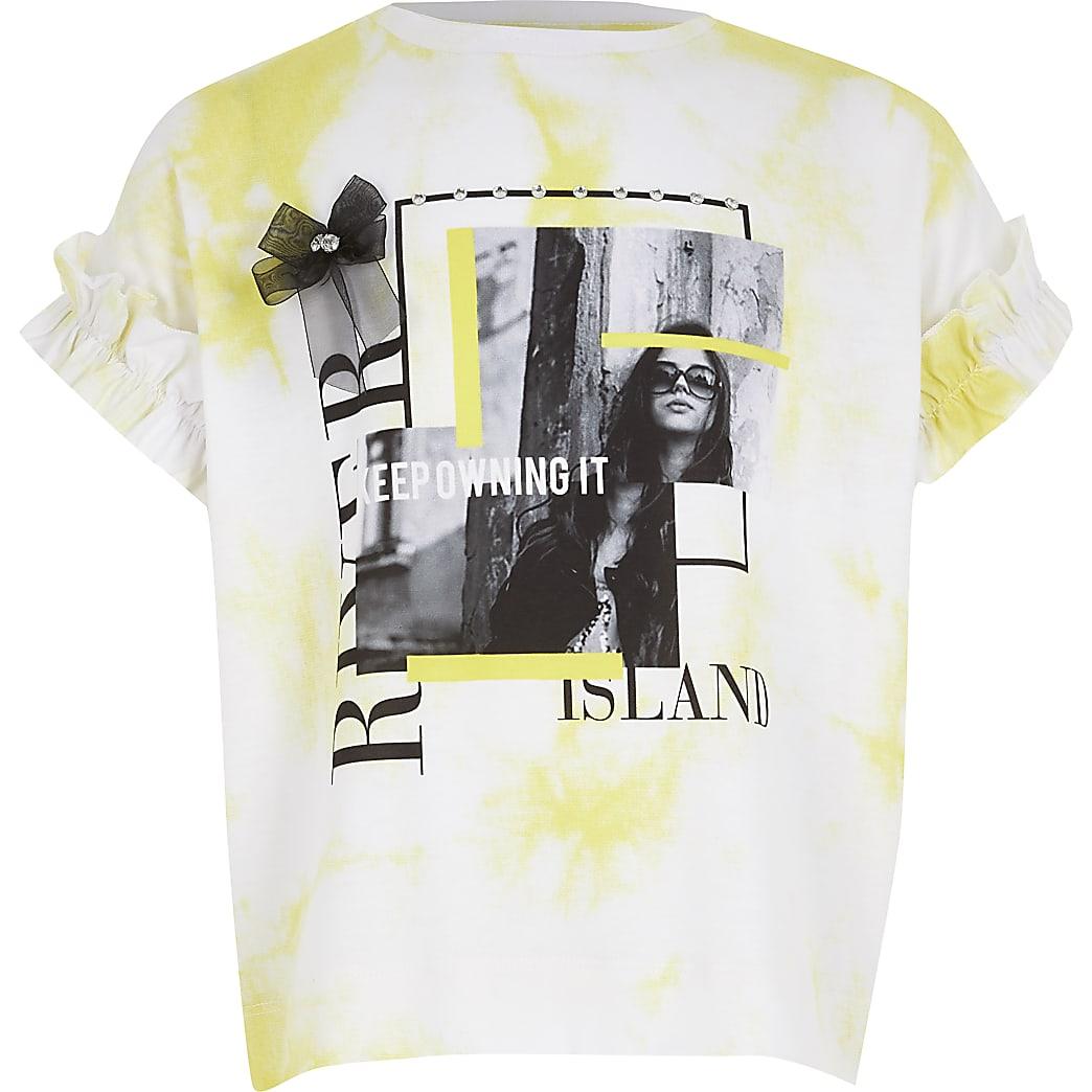 Girls white tie dye printed frill T-shirt