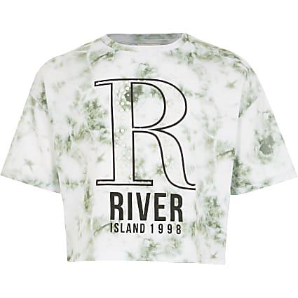 Girls white tie dye R embellished T-shirt