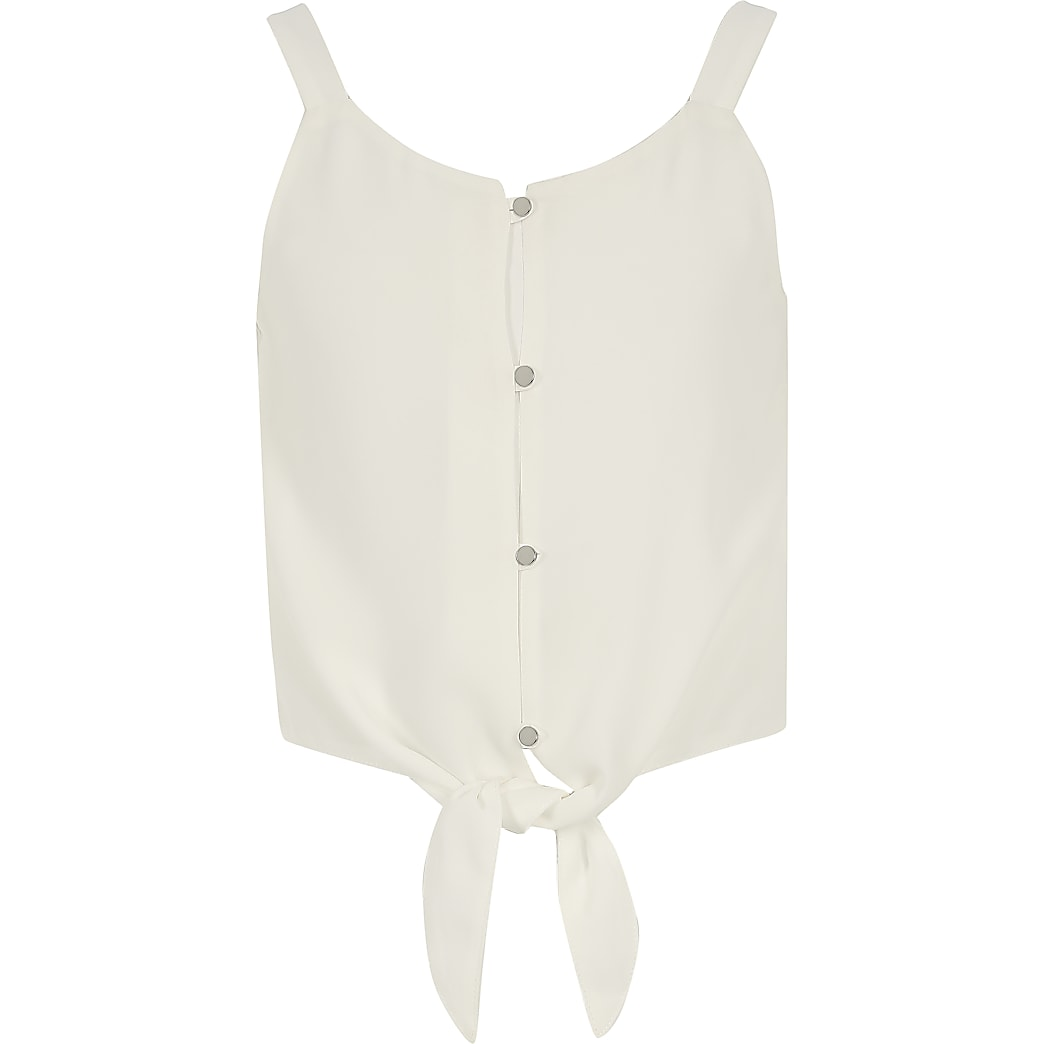 Girls white tie front cami top