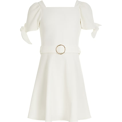 Girls white tie sleeve belted skater dress