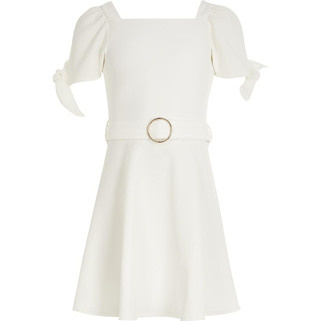 Girls white tie sleeve belted skater dress