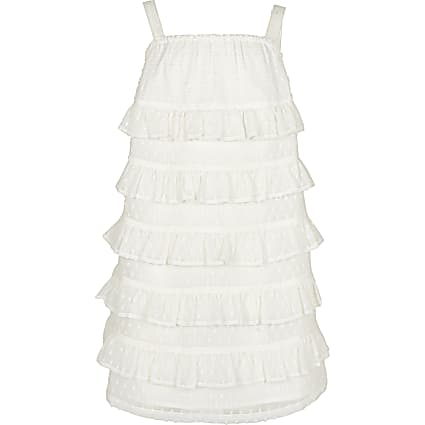 Girls white tiered frill shift dress