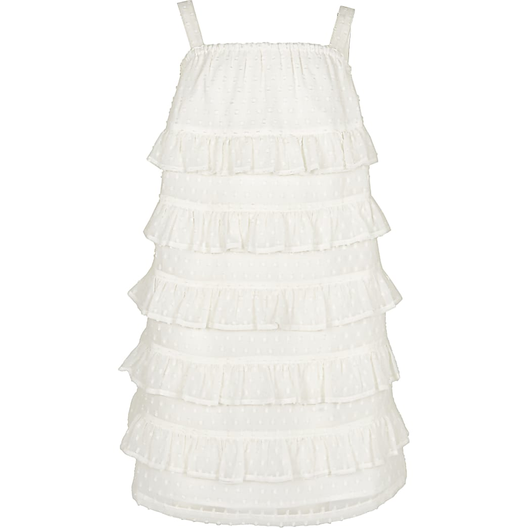 Girls white tiered frill shift dress