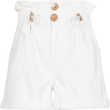 Girls white toggle paperbag shorts
