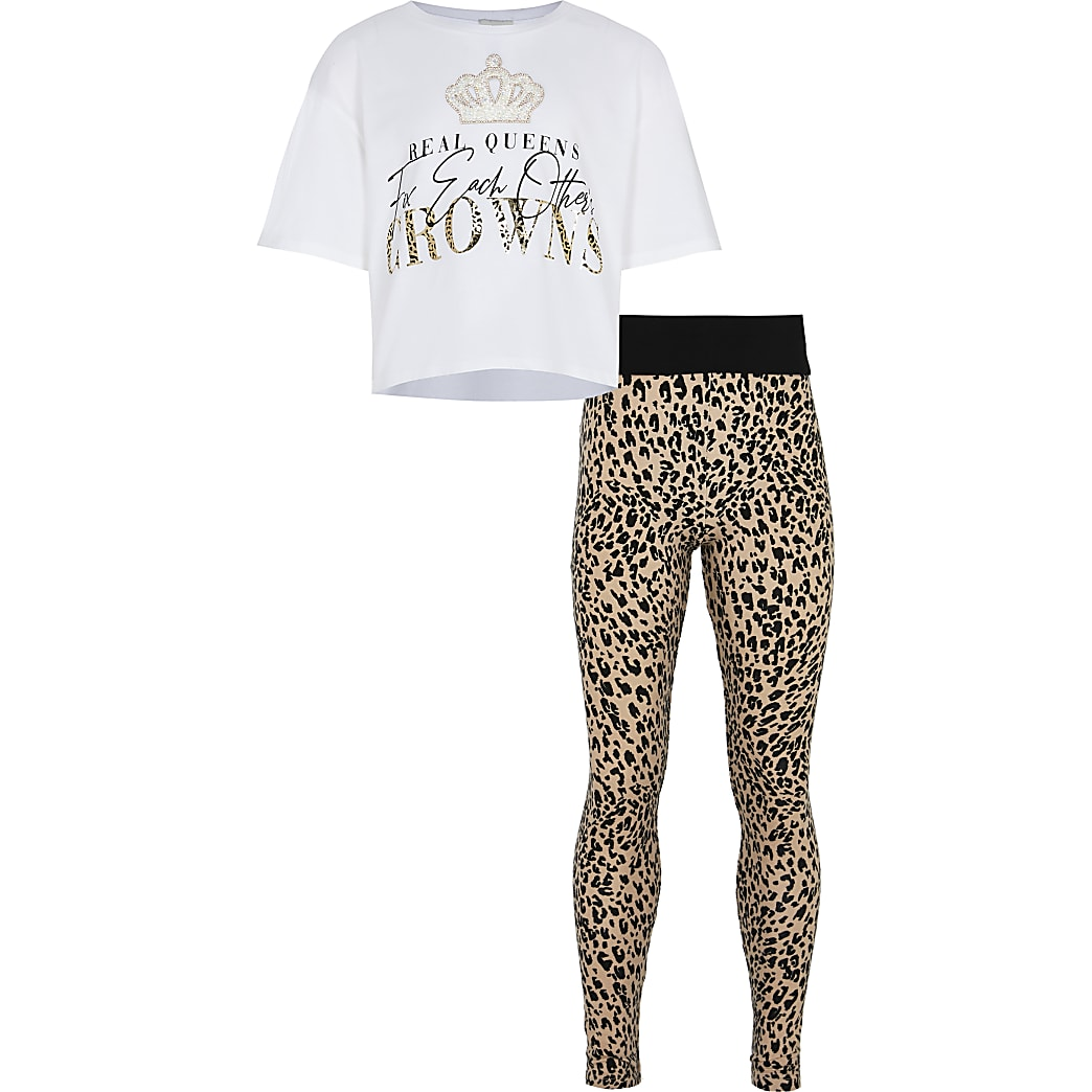 Girls white top and animal print leggings