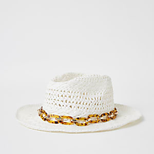 Girls white tortoiseshell chain stetson hat