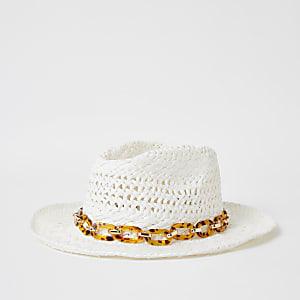 Weißer Schildpatt-Hut mit Kette am Saum