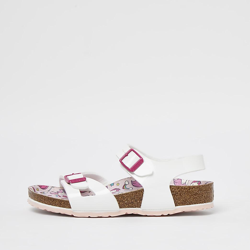 Girls white unicorn Birkenstock strap sandal