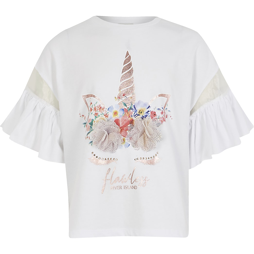 Girls white unicorn corsage t-shirt