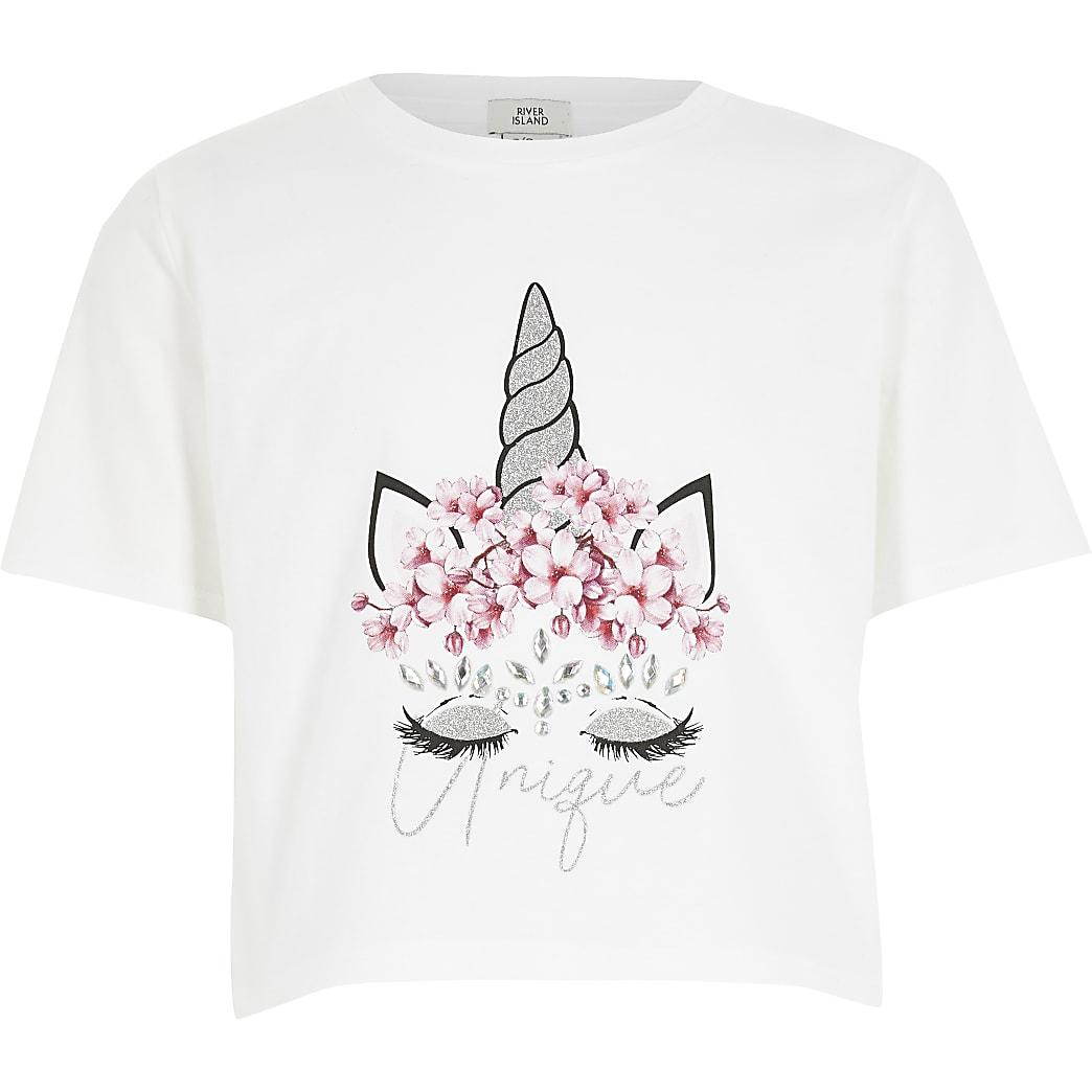 Girls white unicorn embellished T-shirt