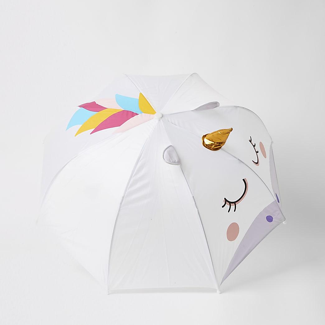 Witte paraplu verfraaid met eenhoorn voor meisjes