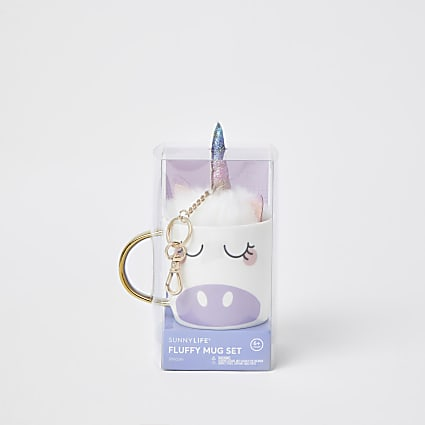 Girls white unicorn mug set