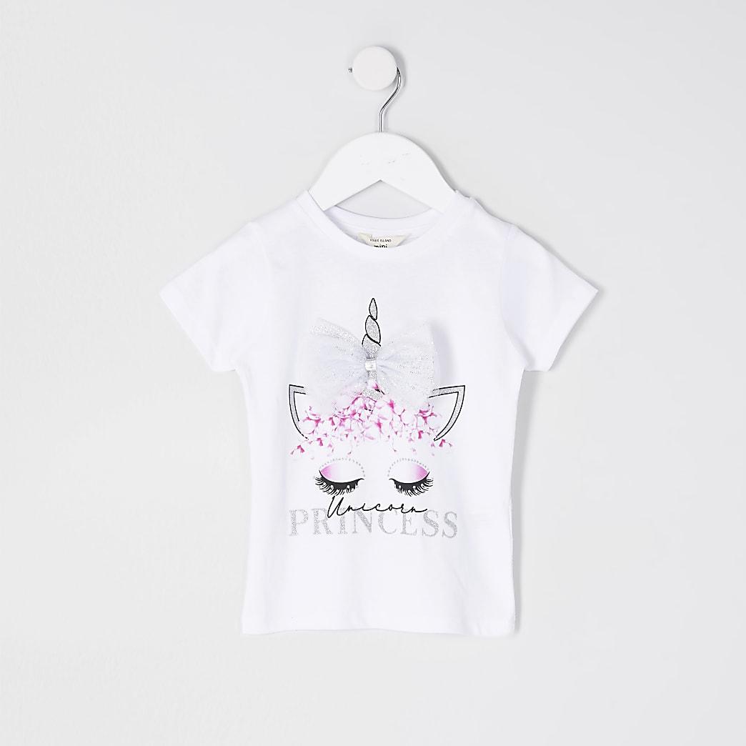 Girls white 'Unicorn Princess' bow t-shirt