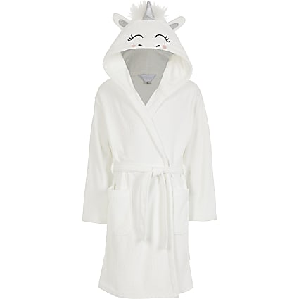 Girls white Unicorn RI monogram dressing gown