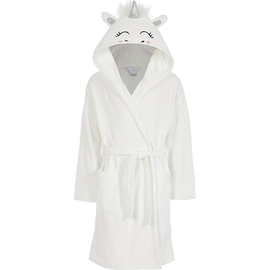 Girls white Unicorn RI monogram dressing gown