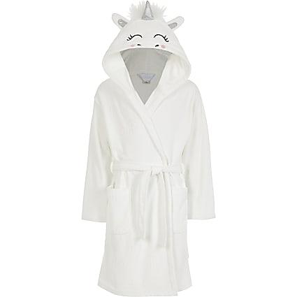 Girls white Unicorn RI monogram robe