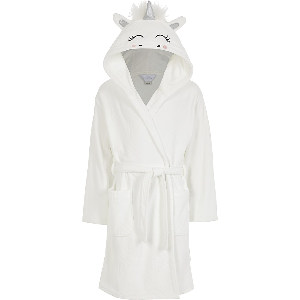 Girls white Unicorn RI monogram robe