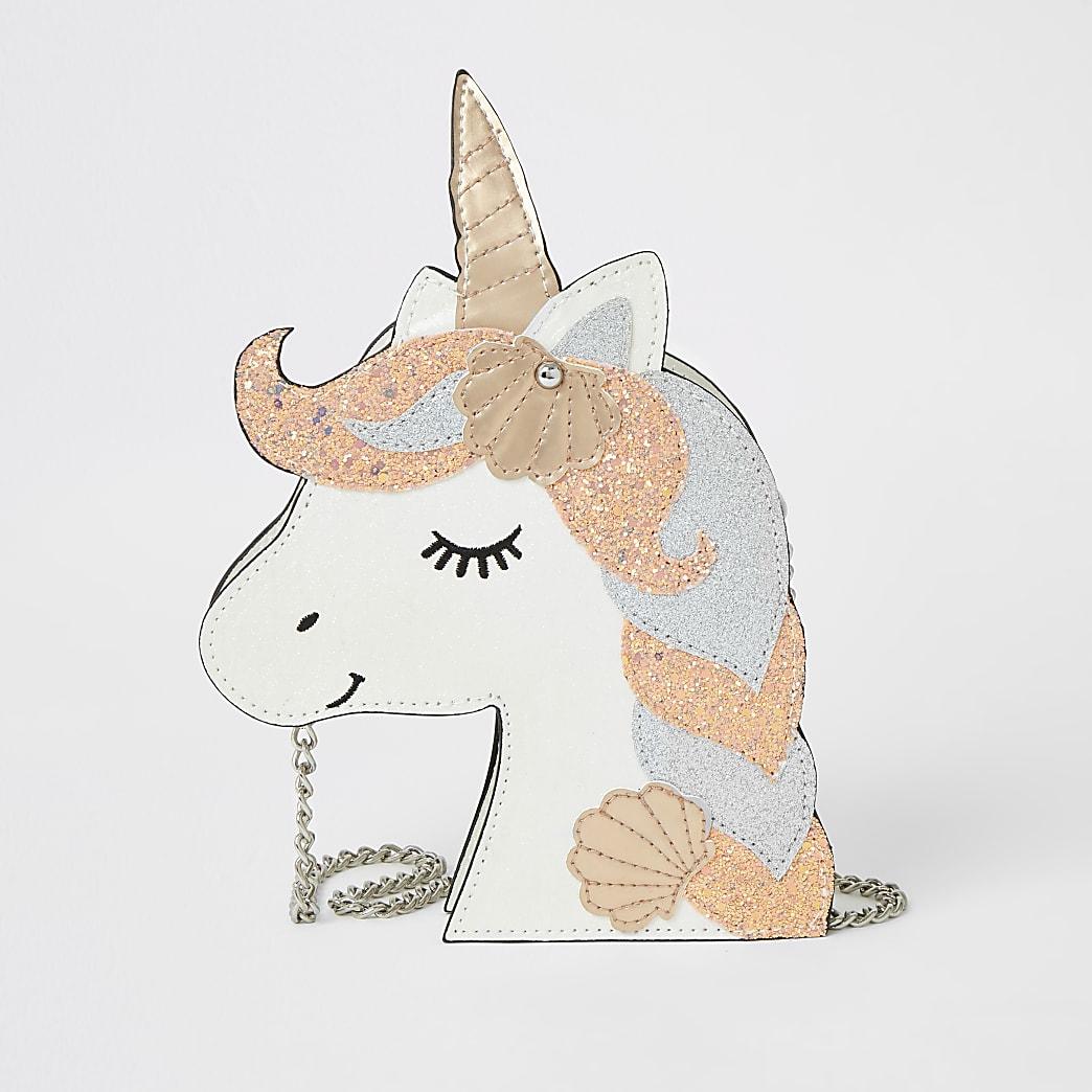 Girls white unicorn sequin cross body bag