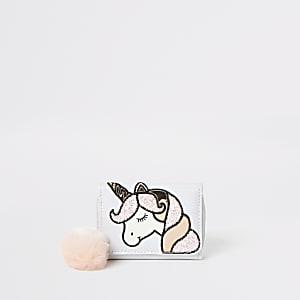 Witte portemonnee met eenhoornprint voor meisjes