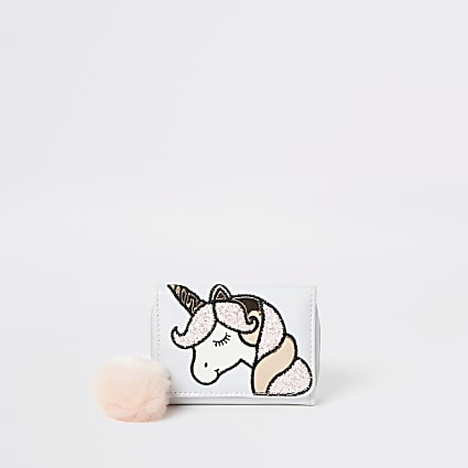 Girls white unicorn trifold purse